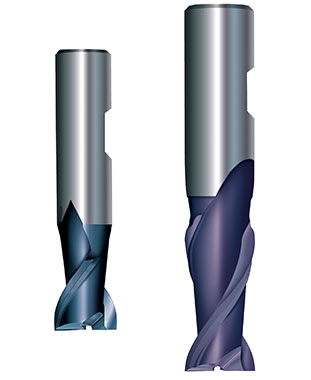 Two-flutes End Mills for machining light metals
