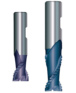 Two-flutes End Mills roughing-finishing profile for machining light metals