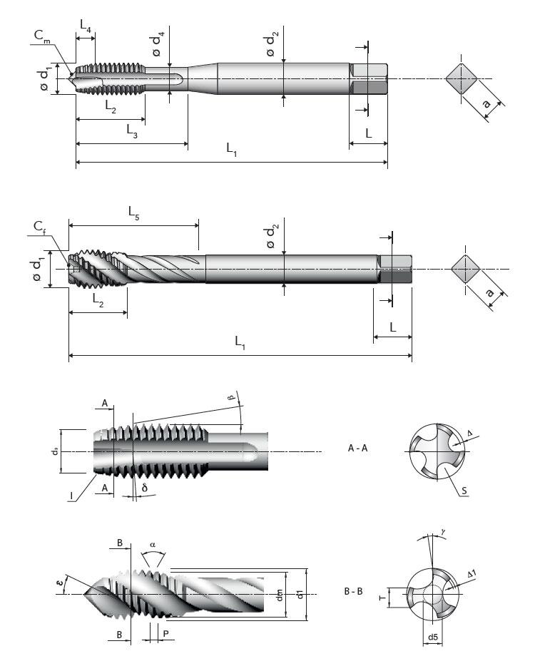 Gewindebohrer metrisches Feingewinde Maschinengewindebohrer Sackloch